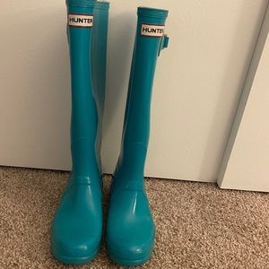Turquoise original Hunter Rain Boots Tall